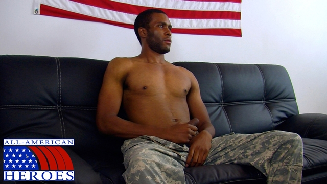 All American Heroes – Black military man Private Robert drops his camos and unloads!