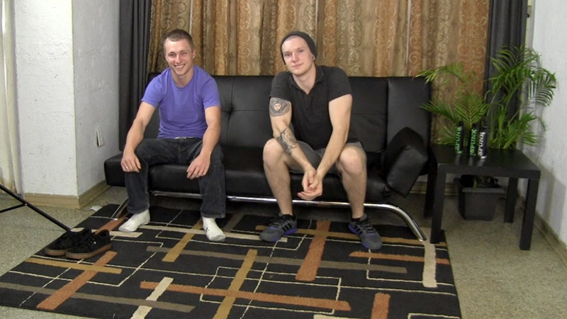 Straight guys Warren and Blake race to see who can cum first