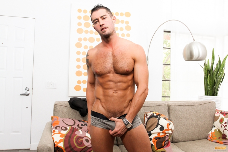 Cody Cummings slowly and with power jerks his fat swollen dick
