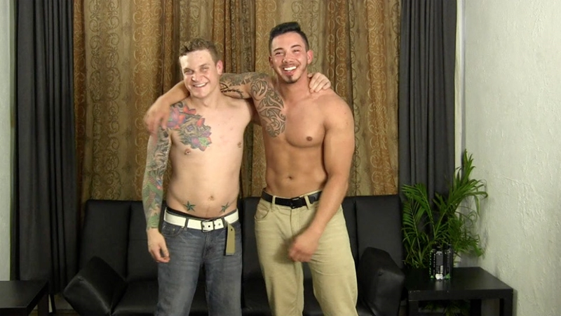 Cory sucks Javy's dick then bends over and lets Javy fuck him bareback