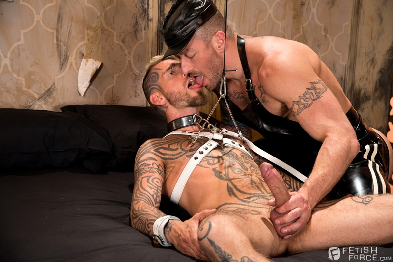 Hugh Hunter keeps sliding the sounding rod in and out of Logan McCree's dick slit