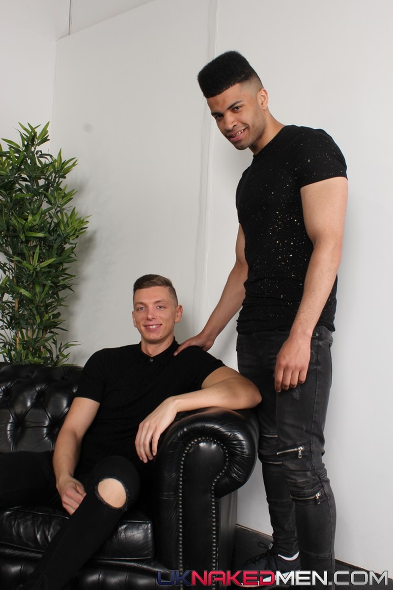 Billy Rock's down on his knees sucking on Jayden Middleton's big dark uncircumcised dick