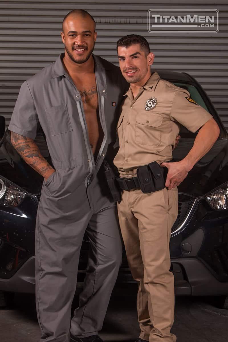 Jason Vario sucks the cop Jeremy Spreadums' huge uncut dick tugging at his foreskin