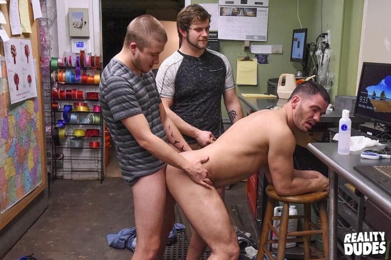 Brent Walker, Brogan Reed and Justin Dickson hardcore big cock spit roasting anal