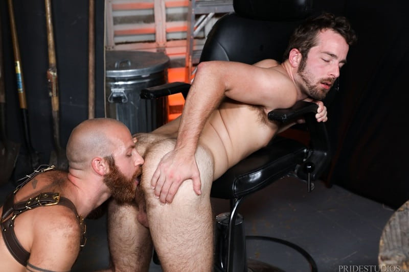 James Stevens bends Jay Donahue over rimming his hairy ass with his inquisitive tongue