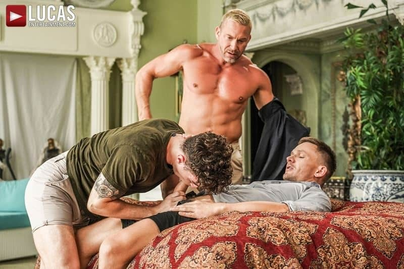 Older muscle dude Tomas Brand and smooth muscled hunk Andrey Vic spit roast young dude Robert Law's hot holes