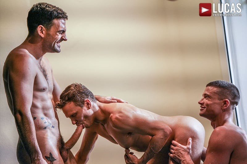Ethan Chase's hot hole double fucked by sexy muscle dudes Max Arion and Ruslan Angelo's massive thick dicks