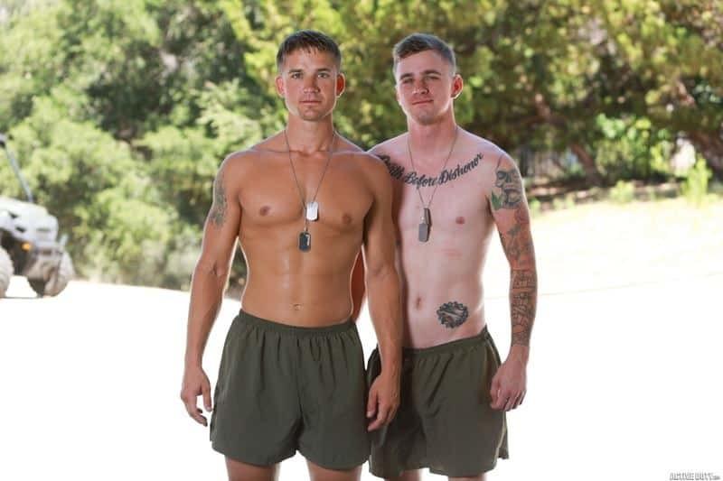 Sexy army boys Ryan Jordan and Brandon Anderson's bareback big cock anal fucking