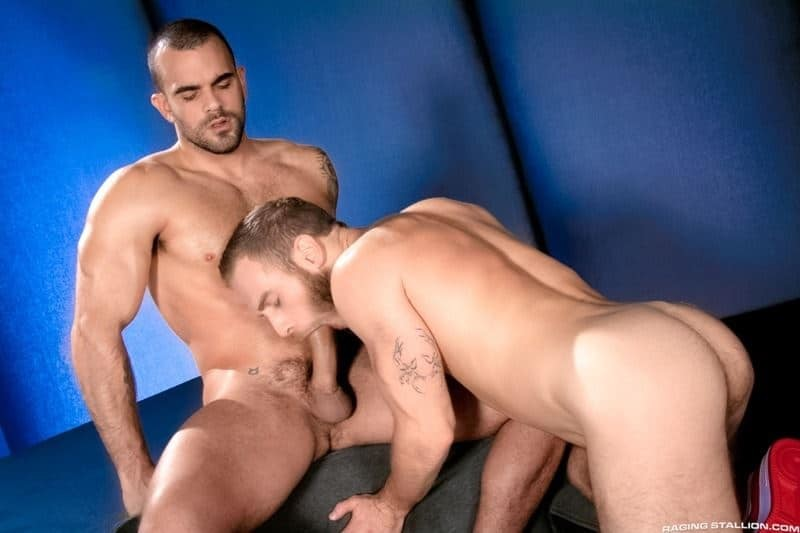 Horny young hairy muscle stud Damien Crosse fucks hot muscled dude Shawn Wolfe's hot bubble ass