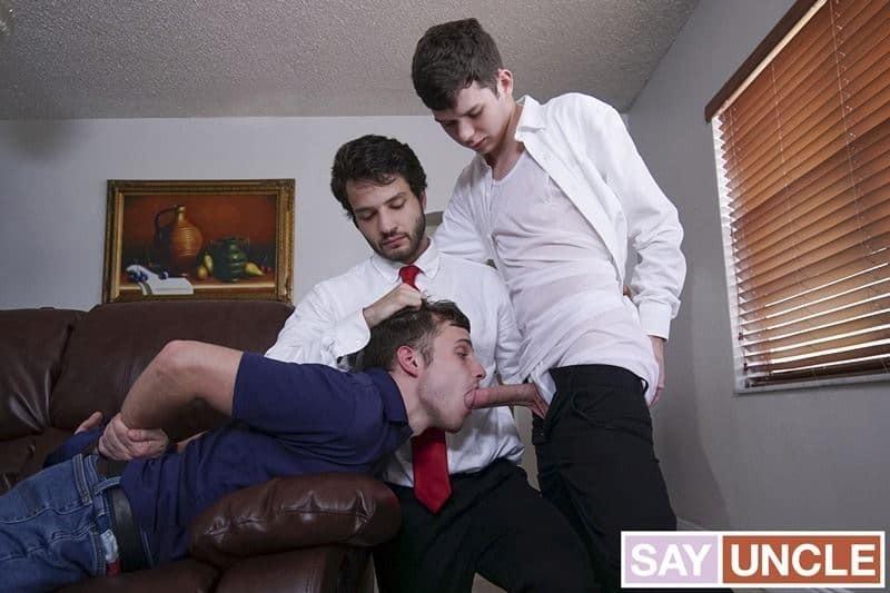 Father Dante Drackis and father Dakota Lovell's huge dicks bareback fuck young elder Jesse Avalon's hot boy ass