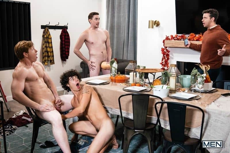 Hot gay orgy Kaleb Stryker, Jack Hunter, Nate Grimes and Kyle Connors hardcore bareback ass fucking