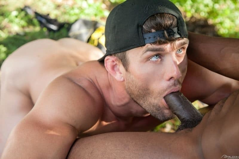 Sexy bearded muscle stud Ryan Rose's huge dick fucking hot black stud Pheonix Fellington's tight bubble ass