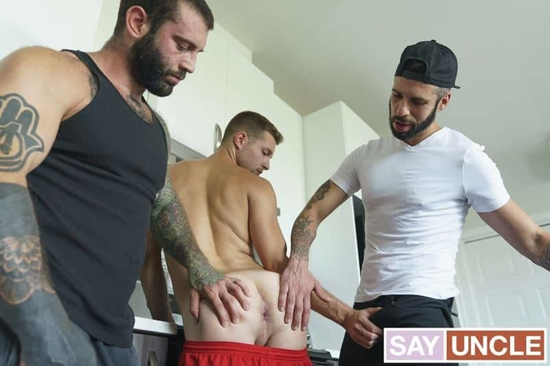 Step-daddy Markus Kage and step uncle Romeo Davis' huge raw dicks bareback fucking young Benjamin Blue's hot bubble ass