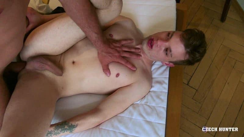 Young blonde straight dude sucks big uncut cock first time then bareback virgin anal sex at Czech Hunter 541