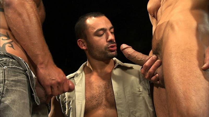 Hot big muscle threesome Aymeric DeVille, David Anthony and Philippe Ferros' huge dick ass fucking orgy