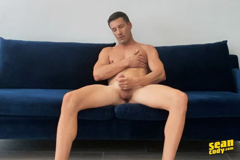 Sean Cody hottie muscle dude Dustin stroking his big erect cock to a massive jizz orgasm