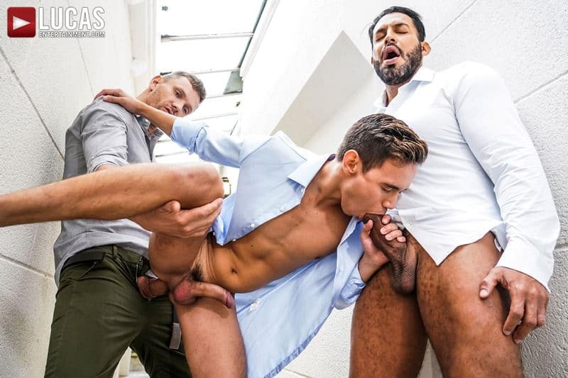 Hot muscle hunks Viktor Rom and Andrey Vics' huge raw dicks bareback fucking new young stud Oliver Hunt