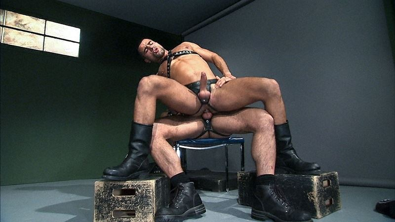 Hot big leather muscle dudes David Dirdam and Gio Forte big dick flip flop ass fucking