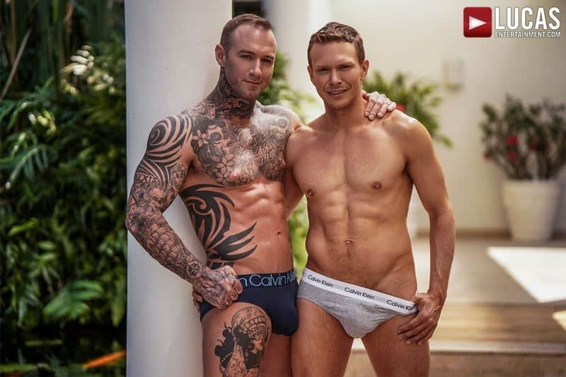 Sexy tattooed muscle hunk Dylan James's huge 9.5 inch cock bare fucks muscled stud Ethan Chase's hot hole